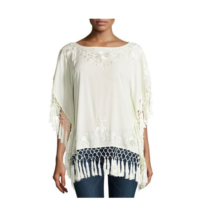 French Connection Raquel Embroidered Fringe Top, Classic Cream Deals