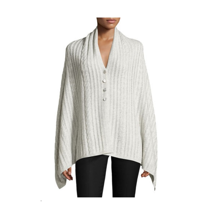 Neiman Marcus Cashmere-Blend Button-Front Poncho Deals