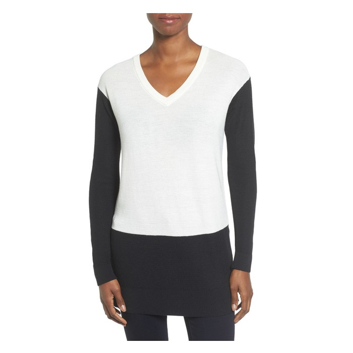 Vince Camuto Colorblock Waffle Stitch V-Neck Sweater Deals