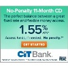 Cit Bank: 1.55% APY on No-Penalty 11-Month CD Deals