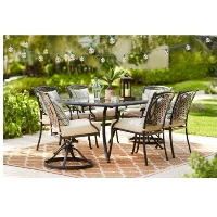 Deals on Hampton Bay Belcourt 7-Piece Metal Outdoor Dining Set