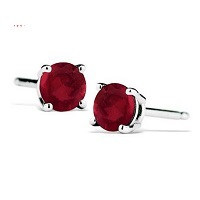Deals on 1/2 Carat TW Natural 4MM Ruby Stud Earrings in .925 Silver