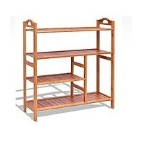 Costway 4-Tier Multifunction Bamboo Shoe Storage Rack