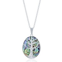 Overstock.com deals on La Preciosa Sterling Siver Tree of Life Oval Necklace