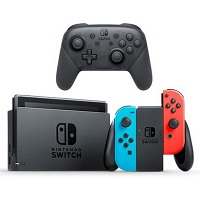 Deals on Nintendo Switch Console w/Neon Blue and Red Joy-Con + Pro Controller