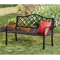 Deals on Wilson & Fisher Black Wyndham Gate Pattern Garden Bench