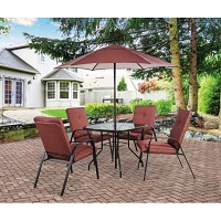 Deals on Wilson & Fisher Ash Ridge Red 6-Pc Dining Set with Umbrella