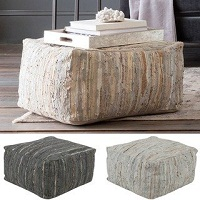 Striped Alia Square Leather 24-inch Pouf Deals