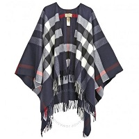 Deals on BURBERRY Checked Cashmere Cape