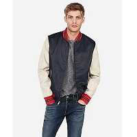 Deals on Express Mminus The Leather Color Block Varsity Bomber