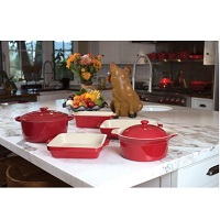 Cuisine & Co 7 Piece Red Artisan Ceramic Stoneware Bundle Deals