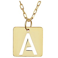14K Italian Gold Initial Square Tile Pendant Necklace