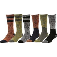 Deals on 6 Pairs Mens Varsity Stripe Crew Socks