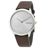 Deals on CALVIN KLEIN Minimal Silver Dial Brown Leaather Mens Watch