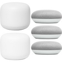 Deals on Google Nest Wifi Router Mesh System AC2200 + Access Point GA00822 Snow + 3Pk Home Mini