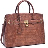 Dasein Croco Embossed Satchel with Padlock Deals