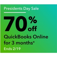 Deals on QuickBooks Online Presidents Day Sale: 70% Off for First 3-Months